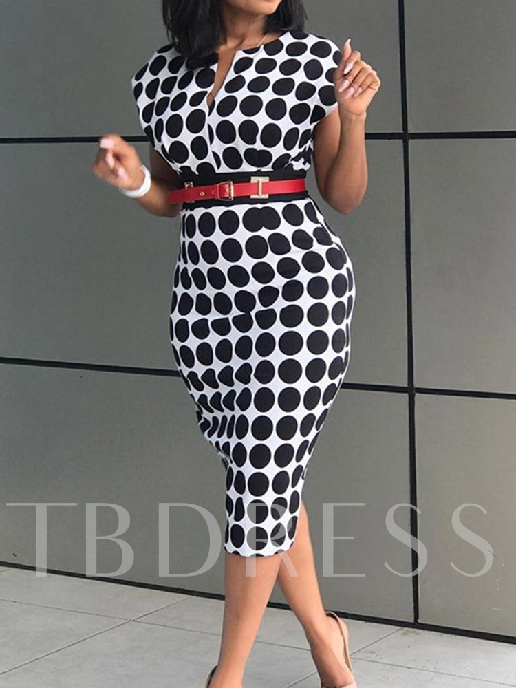 Mid-Calf Short Sleeve Bodycon Women's Dress