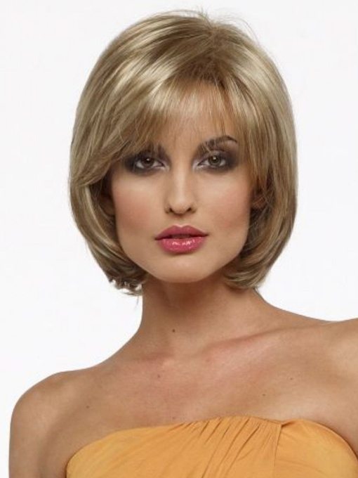 Women's Blonde Straight Bob Style Human Hair Wigs Capless Wigs With Bangs 10 Inches 120% Wigs