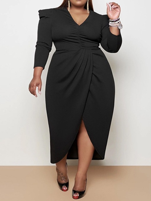 Asymmetric Ankle-Length V-Neck Nine Points Sleeve Asymmetrical Women's Dress