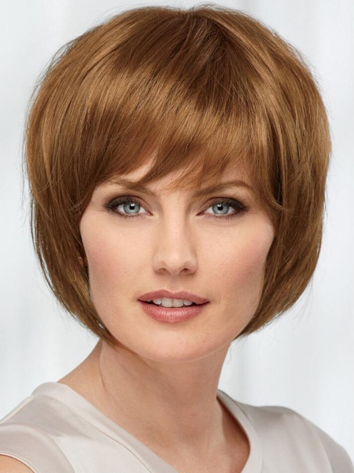 Bob Style Women's Blonde Straight Human Hair Capless Wigs With Bangs 120% 10 Inches Wigs