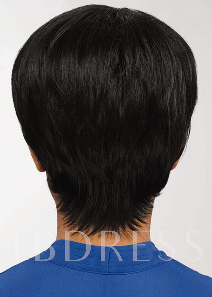 African American Women's Bob Style Straight Human Hair Capless 8 Inches 120% Wigs
