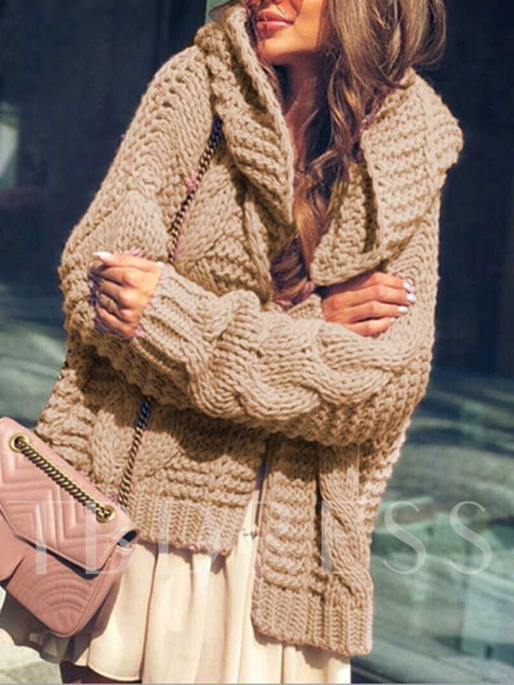 Patchwork Thick Hooded Women's Sweater