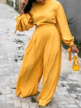 Pleated Pants Plain Sweet Stand Collar Women's Two Piece Sets