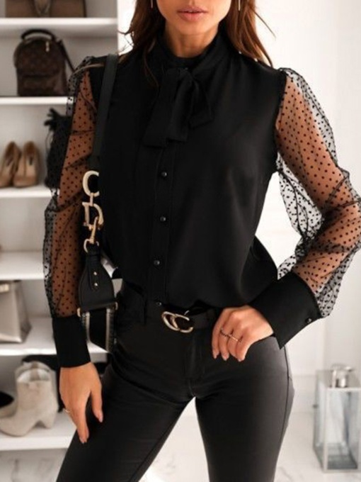 Regular Patchwork Polka Dots Stand Collar Long Sleeve Women's Blouse
