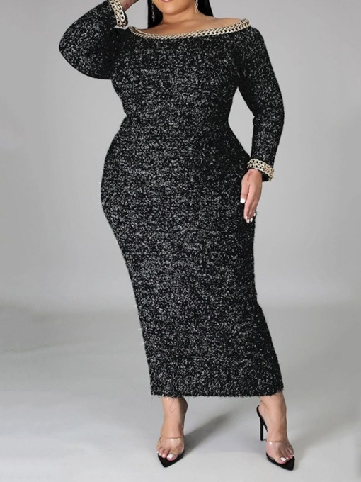 Split Ankle-Length Long Sleeve Bodycon Women's Dress