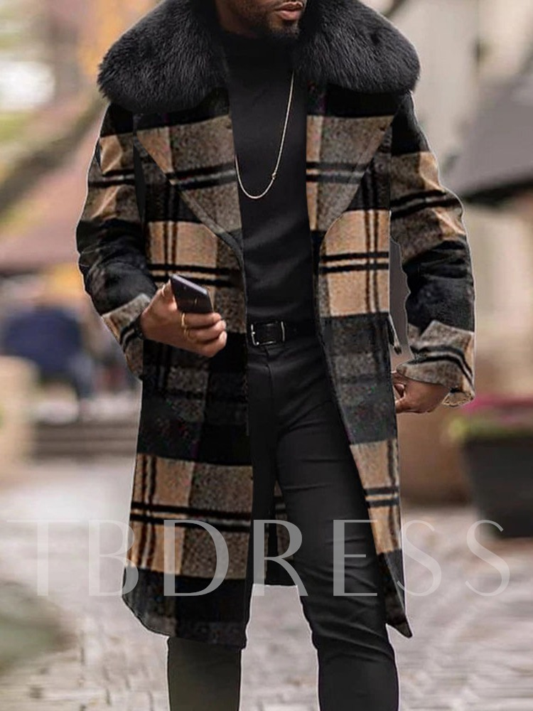 Plaid Long Lapel European Men's Coat