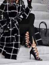 Lace-Up Regular Lace-Up Straight Long Women's Overcoat