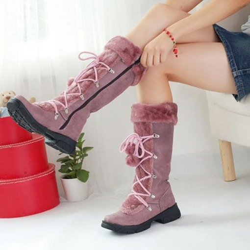 Round Toe Side Zipper Casual Boots