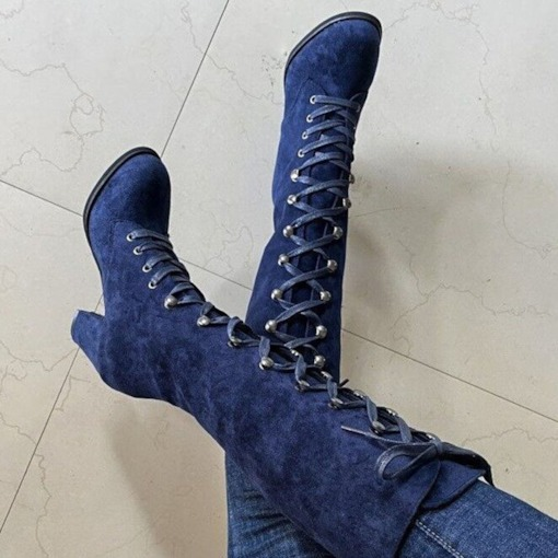 Lace-Up Front Plain Chunky Heel Round Toe Sexy Boots