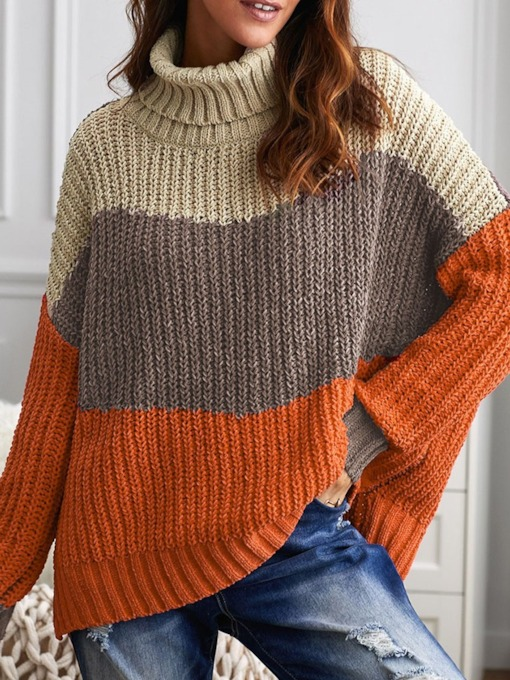 Split Thin Turtleneck Women's Sweater