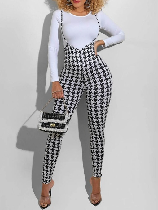 Houndstooth T-Shirt Fashion Strap Pencil Pants Women's Two Piece Sets