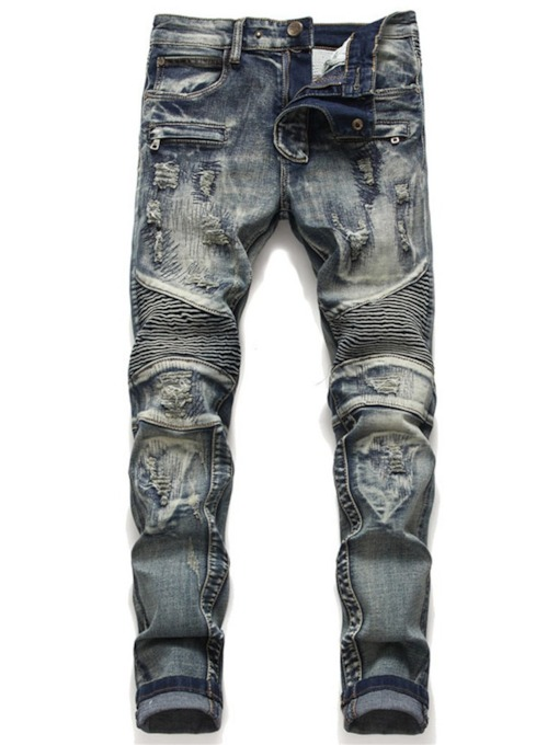 Worn Zipper Slim Light Men's Jeans