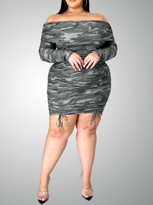 Off Shoulder Above Knee Long Sleeve Lace-Up Pullover Women's Dress