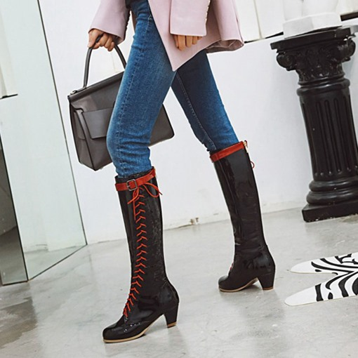 Color Block Round Toe Chunky Heel Hasp Western Boots