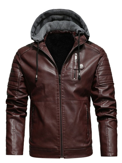 Standard Hooded Vintage Men's Leather Jacket