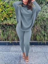 Sweater Casual Plain Pullover Women's Two Piece Sets