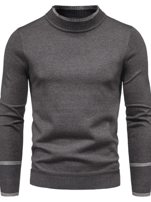 Standard Stand Collar Color Block Slim Men's Sweater