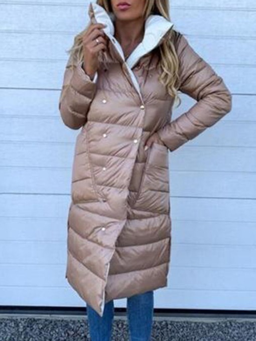 Double-Breasted Pocket Straight Long Women's Cotton Padded Jacket