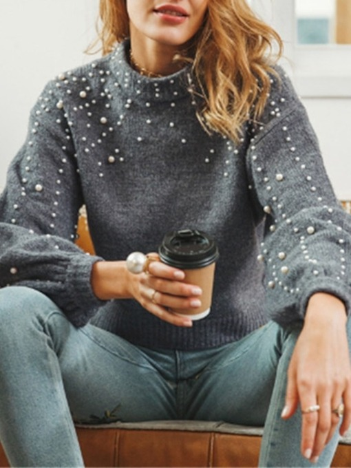 Thin Lantern Sleeve Patchwork Winter Women's Sweater