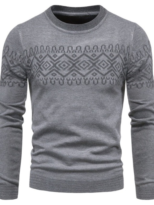 Round Neck Standard Fall Men's Sweater