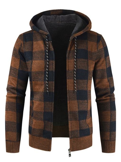 Hooded Plaid Standard Casual Men's Sweater