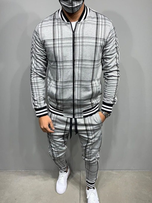 Plaid Casual Patchwork Jacket Spring Men's Outfit