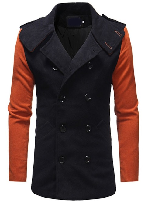 Lapel Mid-Length Color Block Patchwork Winter Men's Coat
