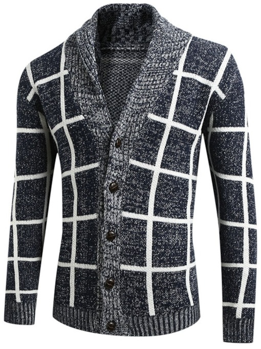 Plaid Standard Lapel Casual Men's Sweater