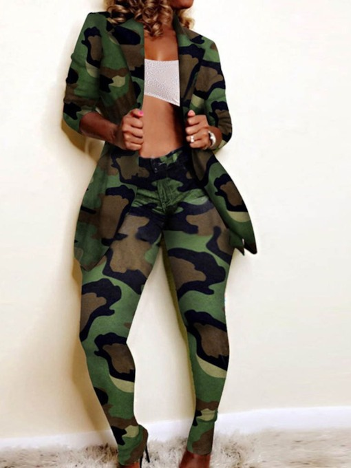 Camouflage Casual Coat Print Pencil Pants Women's Two Piece Sets