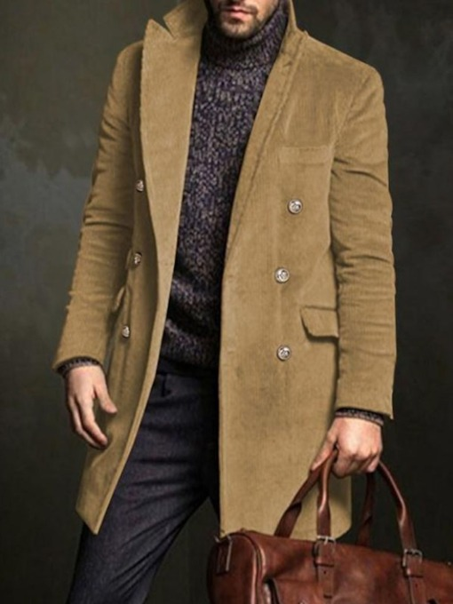 Lapel Plain Mid-Length European Men's Coat