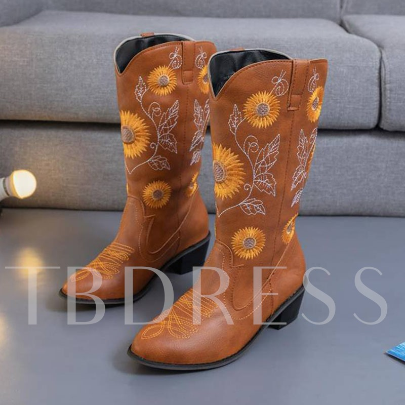 Slip-On Chunky Heel Round Toe Thread Boots