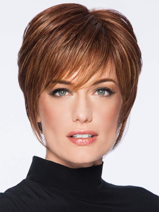 Short Layered Hairstyles Women's Natural Straight Human Hair Capless 10 Inches 120% Wigs