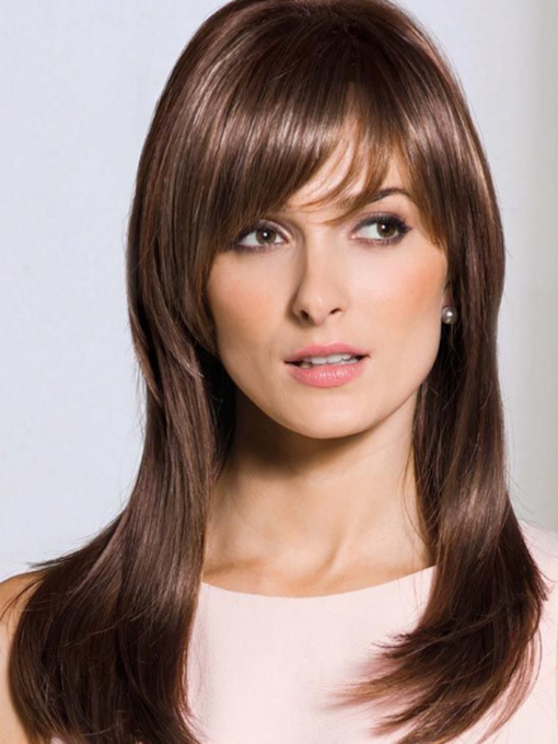 Sexy Women's Long Length Slik Straight Human Hair Wigs With Bangs Capless 120% 22 Inches Wigs