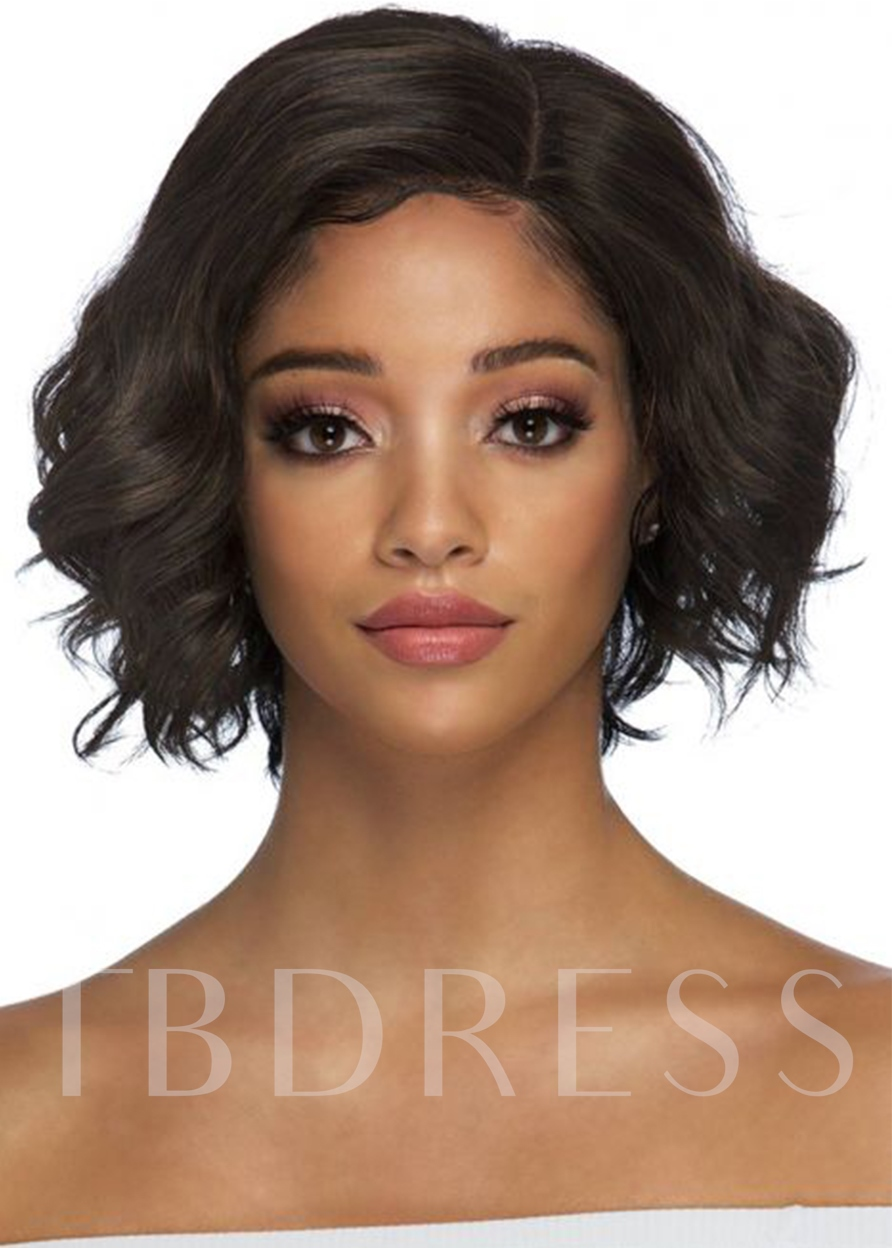 Natural Looking Layered Wavy Hairstyle Human Hair Capless Wigs for African American Women 12Inch