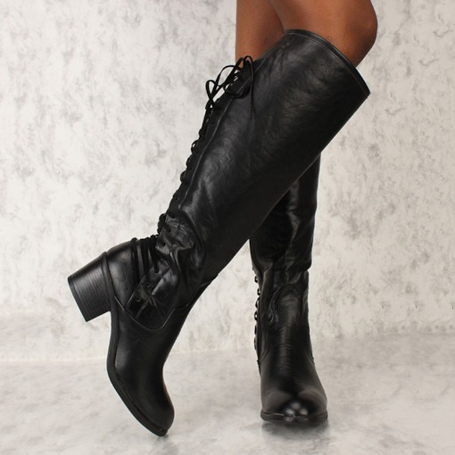 Lace-Up Back Round Toe Plain Thread Boots