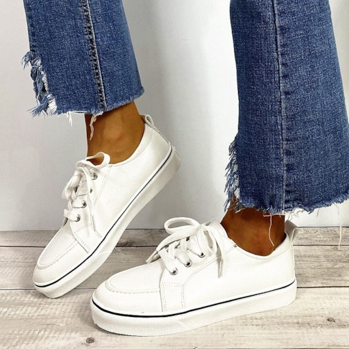 Round Toe Low-Cut Upper Lace-Up Thread Casual Sneakers