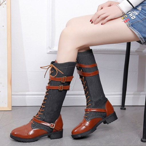 Lace-Up Front Block Heel Round Toe Color Block Buckle Boots