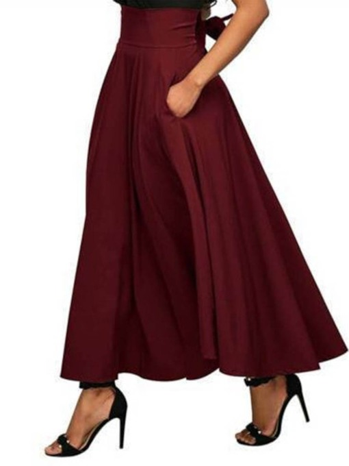 Ankle-Length Lace-Up Plain Expansion High Waist Women's Skirt