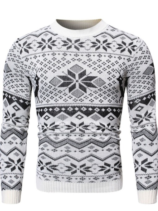 Geometric Standard Round Neck Casual Men's Sweater