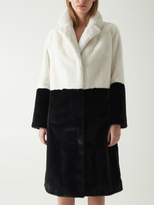 Color Block Long Regular Lapel Straight Women's Faux Fur Overcoat