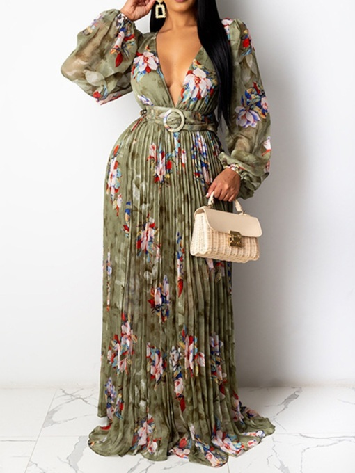 Long Sleeve Print Floor-Length V-Neck Sexy Women's Dress