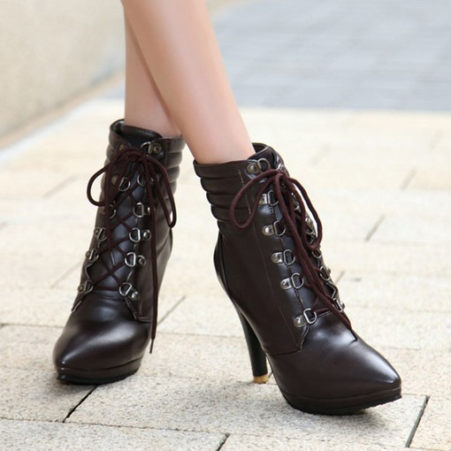Lace-Up Front Stiletto Heel Plain Pointed Toe Cotton Boots