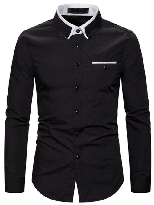 Lapel Color Block Regular Slim Men's Shirt
