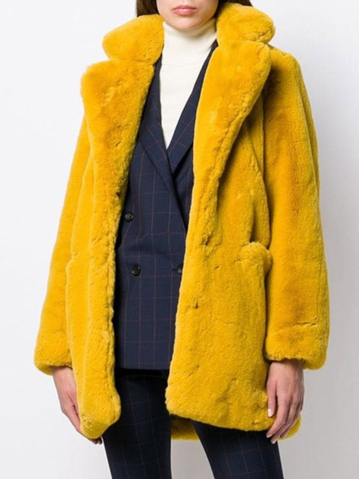 Plain Lapel Regular Mid-Length Loose Women's Faux Fur Overcoat