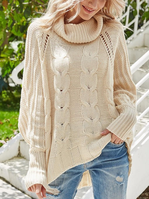 Thin Batwing Sleeve Patchwork Mid-Length Women's Sweater