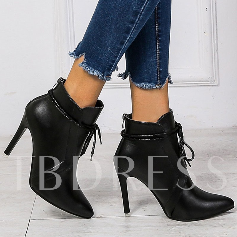 Pointed Toe Plain Lace-Up Front Stiletto Heel Western Boots