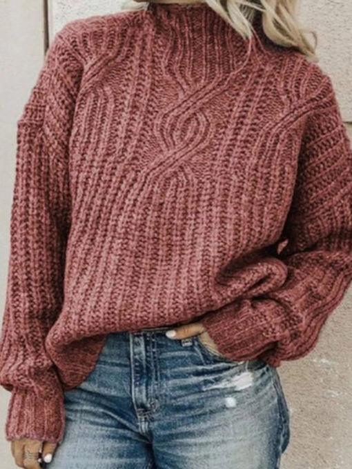 Loose Patchwork Regular Thin Long Sleeve Women's Sweater