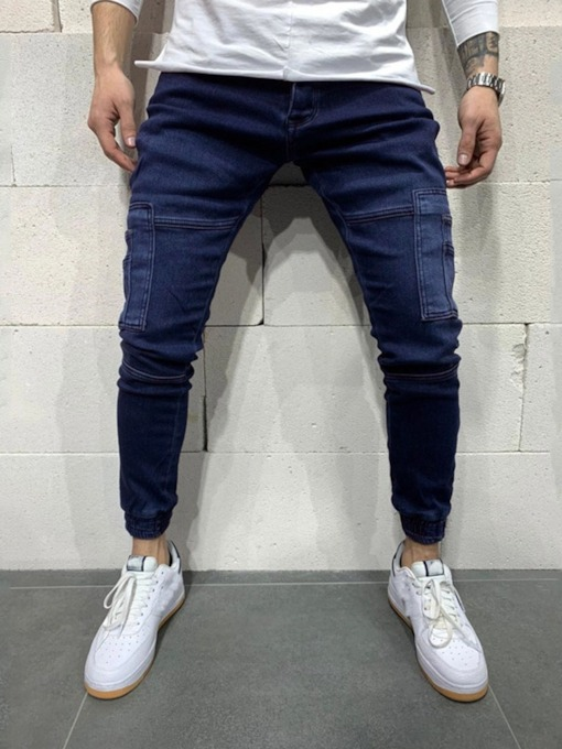 Pencil Pants Worn Plain Mid Waist Men's Jeans