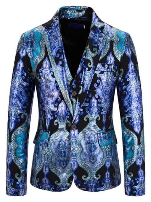 Vest One Button Print Floral Men's Dress Suit