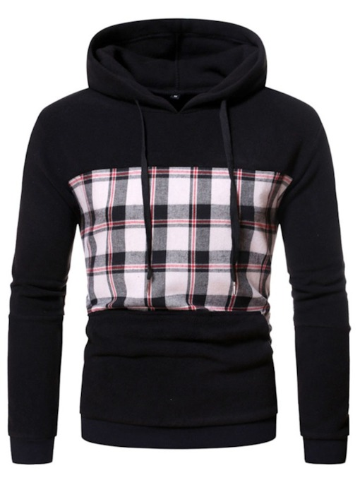 Patchwork Plaid Pullover Spring Men's Hoodies
